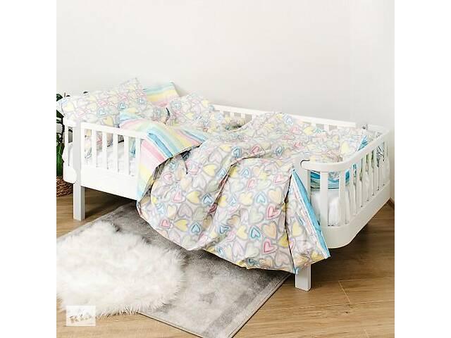 купить бу Детская полуторная сменная постель Twins Love хлопковая в кроватку, 4 элемента, серая в Киеве