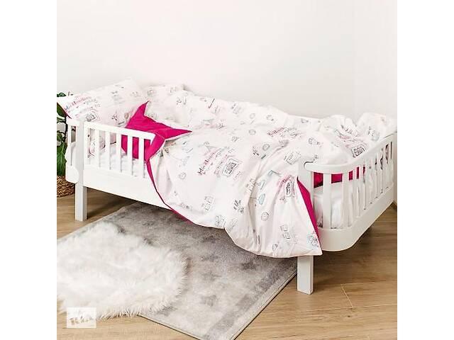 Детская полуторная сменная постель Twins Paris хлопковая в кроватку, 4 элемента, розовая- объявление о продаже  в Киеве