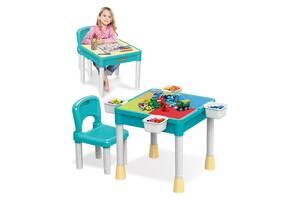 Детский игровой столик Lego (для игры в Лего и творчества) + стульчик