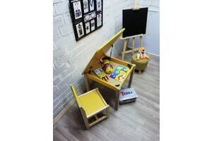 Эко-игровой набор для детей Baby Comfort стол с нишей + стул желтый