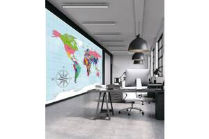 Карта мира в кабинет на стену обои 155 см х 200 см