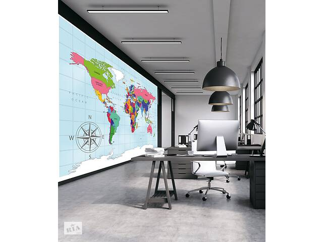 Карта мира в кабинет на стену обои 155 см х 200 см- объявление о продаже  в Киеве