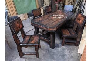 Комплект мебели охотничий №5 (стол, стулья ) для бани, кафе, бар, дачи