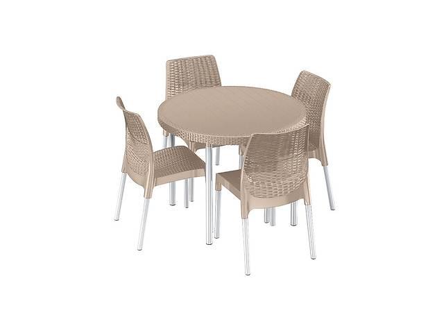 продам Комплект набор мебели для сада Keter Jersey Set из искуственного ротанга и пластика (стол + 4 стула) бежевый бу в Киеве
