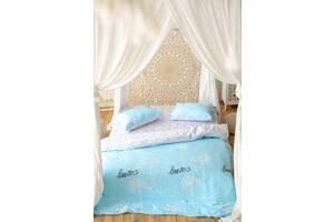 Комплект постільної білизни Prestige Gold Love біло-блакитний євро SKL29-250676