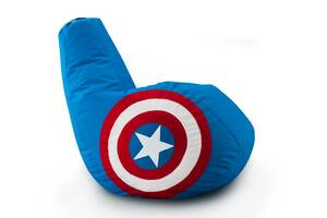 Кресло мешок груша Coolki Капитан Америка Captain America XXL 90x130 Голубой (Оксфорд 600D)