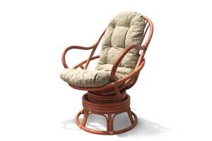 Крісло-гойдалка Cruzo Флора з натурального ротангу на пружинному блоці Теракотове CRUZO kk1506