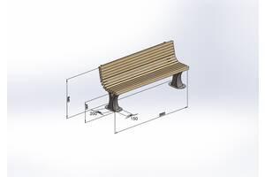 """Лавочка гнутая """"Greenberg"""" 0,6 х 2 м от производителя Garden park bench 36"""