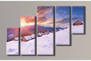 """Модульная картина на холсте из 5-ти частей """"Зимний пейзаж"""""""