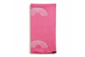 Мягкий трикотажный детский плед 80x80 Twins Rainbow, розовый. Подарок девочке на выписку.