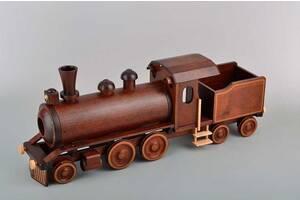 Деревянный паровоз подставка под бутылку BST 66x44x27 см. 090038