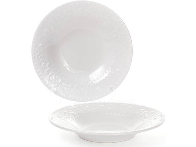продам Набор 6 суповых тарелок Bona Leeds Ceramics d 23см каменная керамика белые (BD-931-192_psg) бу в Киеве