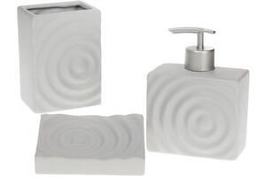 Набор аксессуаров Bona Bright Круги для ванной комнаты 3 предмета керамика серый (psg_BD-851-270)