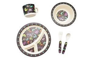Набор детской бамбуковой посуды Eco-Friendly из 5 предметов (MH-2771-7) Динозаврики