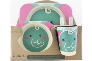 Набор детской бамбуковой посуды Elite lux (H0053-2) Слоник 5 предметов