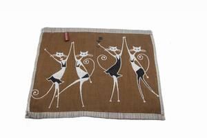 Набор хлопковых кухонных полотенец Koloco 35x35 4шт Танцующие коты коричневый SKL53-239928