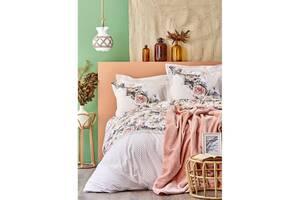 Набор постельное белье с покрывалом Karaca Home - Elsa somon 2020-1 евро 200х220 см Лососевый