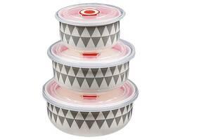 Набір салатників, з кришками Stenson MC2700, 3 шт