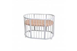 Овальная детская кроватка-трансформер Twins Cozy 110х70 Вышиванка, белая. Подарок для новорожденного.