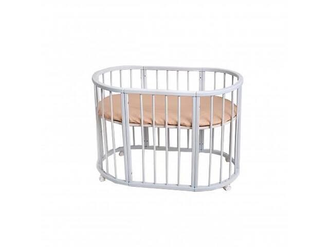 купить бу Овальная детская кроватка-трансформер Twins Cozy 110х70 Вышиванка, белая. Подарок для новорожденного. в Киеве