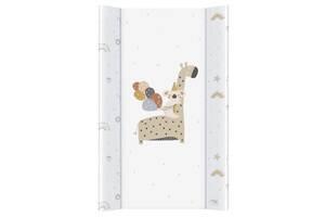 Пеленальная доска для новорожденного с бортиками непромокаемая Ceba baby Жираф 50x80 см Retro Autumn, белая