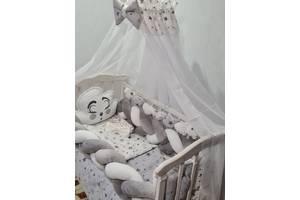 Постельное белье в кроватку для новорожденного с балдахином, защитой, одеялом, подушками Avangard (цвет серый)