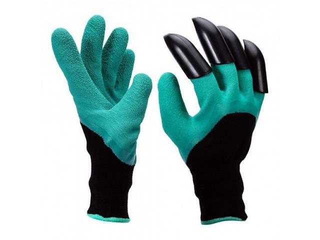 Садовые перчатки Garden Genie Gloves с когтями Черно-бирюзовые (258528)- объявление о продаже  в Киеве