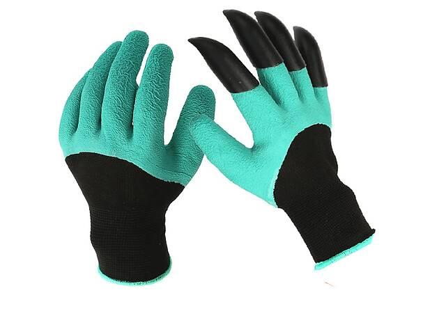 бу Садовые перчатки Garden Gloves с пластиковыми наконечниками Черно-зеленый (R0173) в Киеве