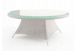 Садовый стол RONDO& Oslash; 180 см из ротанга королевского белого