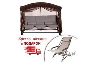 Садовый уличный раскладной 4х местный диван качель кровать Vitan / Витан Кристина бонус с москитной сеткой
