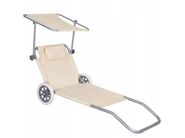 продам Шезлонг (лежак) для пляжа, террасы и сада с колесами и навесом Springos GC0041 бу в Одессе