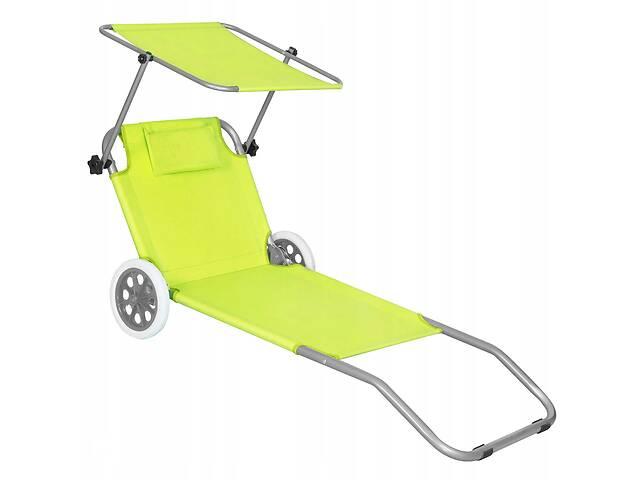 купить бу Шезлонг (лежак) для пляжа, террасы и сада с колесами и навесом Springos GC0043 в Одессе