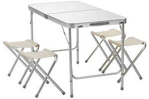 Стіл для пікніка складаний Gioia з регулюванням по висоті 120 х 60 х 55-70 з 4 стільцями Білий (1147941023)