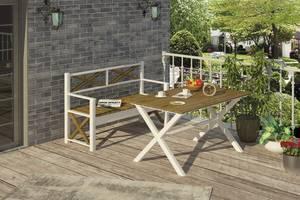 Стол Mebigrand садовый Белый/Орех лесной