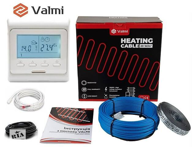 купить бу Тепла підлога Valmi 2 м²-2,5 м² / 400 Вт (20м) тонкий двожильний нагрівальний кабель 20Вт/м з терморегулятором E 51 в Києві