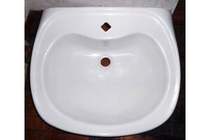 Умывальник шикарный, белый, керамика, 55х47 см, с отверстием для крана