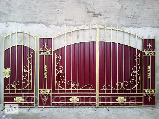 купить бу Ворота с калиткой и элементами ковки, код: Р-0149 в Ладыжине
