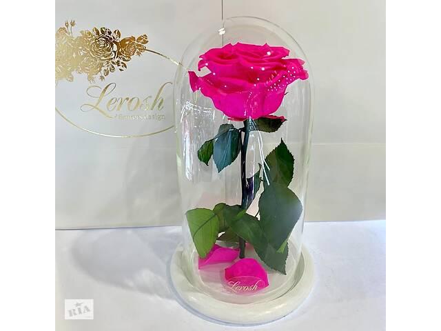 купить бу Ярко-розовая Фуксия роза в колбе Lerosh - Premium 27 см на белой подставке SKL15-279538 в Харькове
