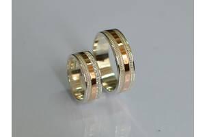 Пара Серебряных Обручальных колец,с Золотыми пластинами