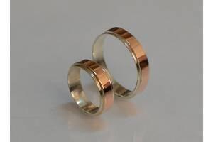 Серебряное обручальное кольцо с золотыми пластинами (Пара)