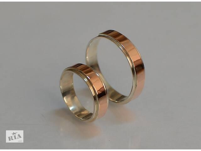 Серебряное обручальное кольцо с золотыми пластинами (Пара)- объявление о продаже  в Киеве