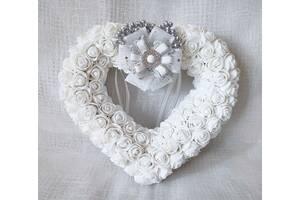 Свадебная подушечка блестящая для обручальных колец сердце из роз белая LA BEAUTY Studio Эксклюзив