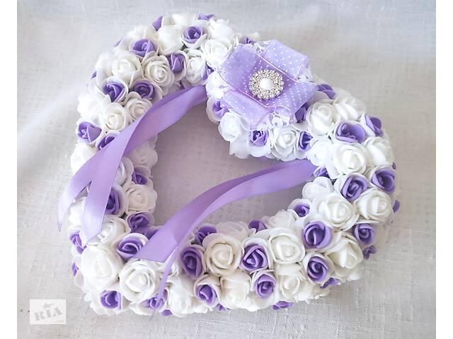 бу Свадебная подушечка для обручальных колец сердце из роз сиреневая белая LA BEAUTY Studio люкс в Киеве