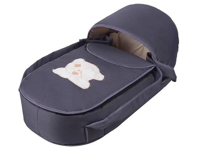 купить бу Люлька-переноска Babyroom BLA-056 с твердым дном аппликация  графит (мордочка мишки штопаная) в Одессе