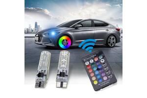 Авто лампы габаритов цветные ходовые огни RGB LED T10 W5W с пультом ДУ