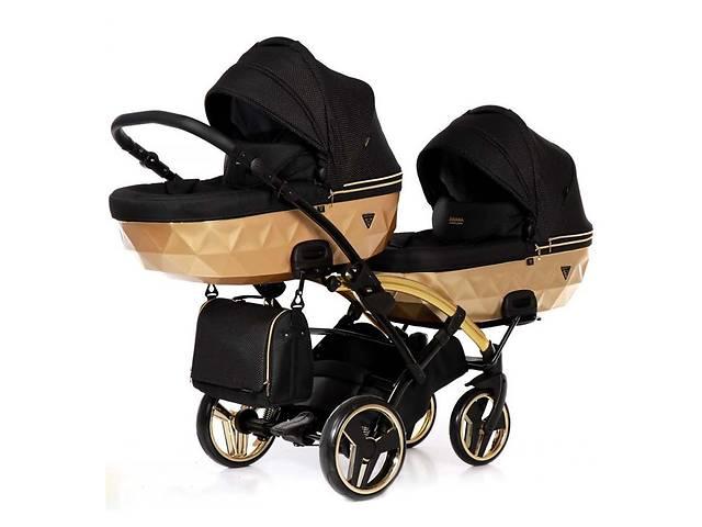 купить бу Универсальная коляска для двойни Junama Mirror Satin Duo Slim 03 Gold в Киеве