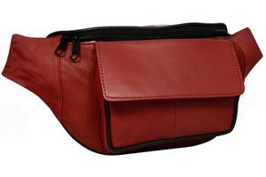 Кожаная сумка на пояс, бананка Cavaldi , красная Cvld902-353 red