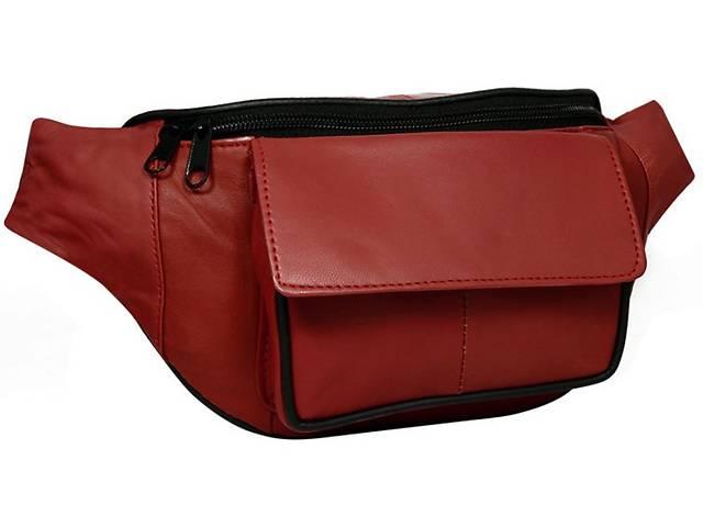 купить бу Кожаная сумка на пояс, бананка Cavaldi , красная Cvld902-353 red в Киеве