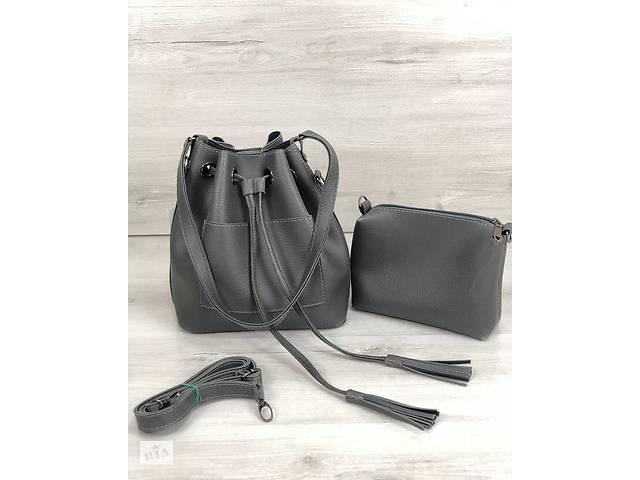 f3cd611a712b Молодежная сумка из эко-кожи Люверс серого цвета (никель) - Сумки ...