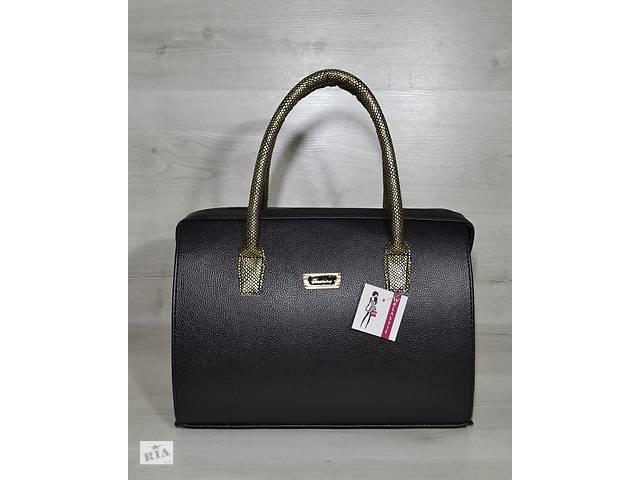 89a775795cd3 Каркасная женская сумка Саквояж черный матовый с золотыми ручками ...